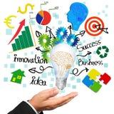 Brain illustration and business symbols idea. stock image
