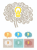 Brain illustration with light bulb Stock Images