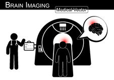 Brain Imaging .  Patient lie on CT scanner for diagnosis of brain disease ( Hemorrhagic or Ischemic stroke , Brain tumor , Brain a Stock Images