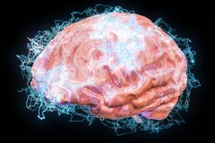 Brain impulses, thinking process, artificial intelligence concep. T. 3D Royalty Free Stock Image