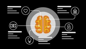 Brain infographic concept. Mind and memory data icons. Available in 4K FullHD and HD video 2D render footage. Animation for yours presentation