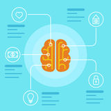 Brain infographic concept. Mind and memory data icons. Vector illustration and background Stock Images