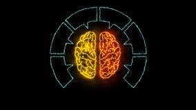 Brain 002 - Infographic 4K Neon. Brain Neon - Human Body royalty free illustration
