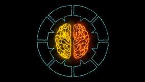 Brain 001 - Infographic 4K Neon. Brain Neon - Human Body royalty free illustration