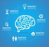 Brain Infographic Report Template Vector stock de ilustración