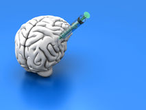 Brain Injection. Syringes injecting substances into a human brain Royalty Free Stock Image