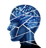 Brain injury. And neurological disorder represented by a human head and mind broken in peices to symbolize a severe medical mental trauma and cognitive illness Stock Photography