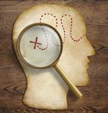 Brain, inner world, psychology, talent exploration. Old map in form of human head with magnifying glass loupe. Brain and inner world exploration concept Stock Images