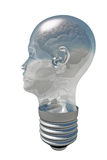 Brain inside Human Head Light Royalty Free Stock Image
