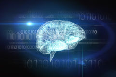 Brain interface in black and blue Royalty Free Stock Photos
