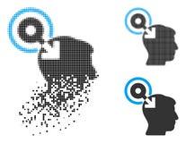 Brain Interface Plug-In Icon tramé pointillé déchiqueté illustration de vecteur