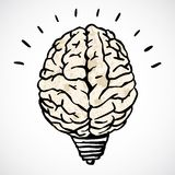 Brain and lamp concept in doodle style Stock Photography