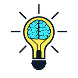 Brain in lamp. Creative concept ideas for presentation, booklet, website and other design projects. Vector illustration for your business Royalty Free Stock Photos