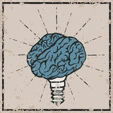 Brain lamp. Idea hand drawn typography poster. Stock Images
