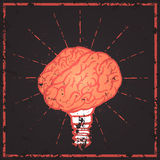 Brain lamp. Idea hand drawn typography poster. Royalty Free Stock Photo