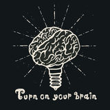 Brain lamp. Idea hand drawn typography poster. Royalty Free Stock Photography
