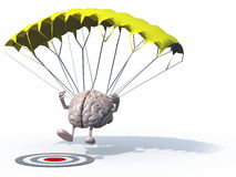 Brain that is landing with parachute on a target Royalty Free Stock Images