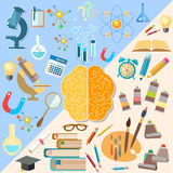 Brain left and right hemisphere power mind. Art and creativity analyst and thinking vector concept Stock Photos