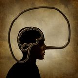 Brain Of A Liar. And academic dishonesty or false perception psychological concept as a person with a long lies symbol nose in a 3D illustration style Stock Images