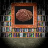 Brain in library room generated texture Royalty Free Stock Photo