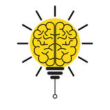 Brain light bulb concept of innovation and imagination. Brain light bulb depicting concept of innovation and imagination royalty free illustration