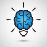 Brain Light bulb icon Royalty Free Stock Image