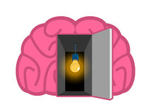 Brain with light bulb Open door. concept of mind illumination. P. Sychology illustration Royalty Free Stock Image