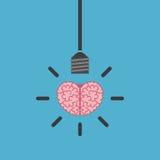 Brain, lightbulb on blue Royalty Free Stock Image