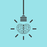 Brain and lightbulb concept Royalty Free Stock Images