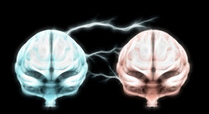Brains connected by lightning bolts. ESP concept paranormal psychic mind Royalty Free Stock Photos