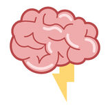 brain with lightning ray icon Stock Images
