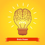 Brain lights up with powerful idea like a bulb Royalty Free Stock Images