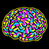 The brain is like a maze and painted to CMYK Royalty Free Stock Image