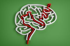 Brain-like maze with red arrow Stock Photos