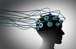 Brain Linking. And connecting the human mind with computers and the internet as a group of wired electrodes attached to a patients head as a neurology and Stock Image