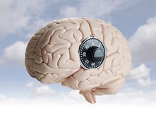 Brain lock. Human brain model with a dial lock Stock Photography