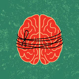 Brain lock, mental idea tied with rope Royalty Free Stock Photos