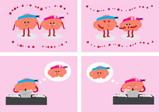 Brain in love. Brain couple cartoon character vector illustration showing 4 styles about how brain couple in love Royalty Free Stock Image