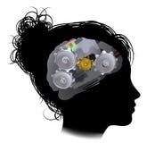 Brain Machine Workings Gears Cogs-Vrouw Royalty-vrije Stock Foto's