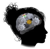 Brain Machine Workings Gears Cogs Woman Royalty Free Stock Photos