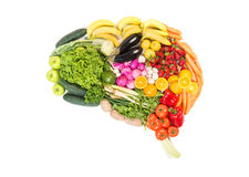 Brain made out of fruits and vegetables isolated on white. Background royalty free stock image