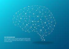 Brain mapping concept. Blue color brain mapping concept with dots, circles and lines royalty free illustration