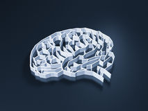 Brain maze. On black background Royalty Free Stock Images