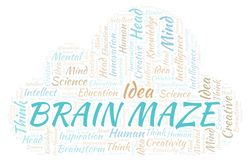 Brain Maze word cloud. Wordcloud made with text only stock illustration