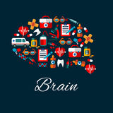 Brain with medical and healthcare flat icons. Medication and healthcare symbols create a silhouette of human brain with flat icons of ambulance, hearts and teeth Stock Images