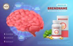 Brain Medicine Advertising Composition illustration libre de droits