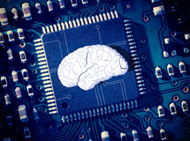 Brain in the middle of blue circuit board Royalty Free Stock Photography