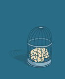 Brain or mind caged in birdcage Stock Photography