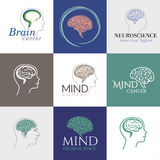 Brain mind. Brain, Creative mind, learning and design icons. Man head, people symbols Royalty Free Stock Image