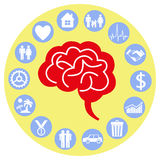 Brain and mind. The human brain is surrounded by thoughts Stock Images